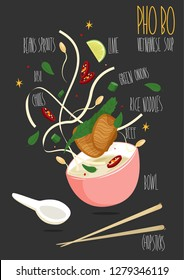 Pho Bo. Vietnamese Pho, rice noodle soup with sliced rare beef. Vector illustration