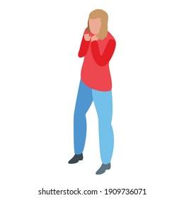 Phobia afraid girl icon. Isometric of phobia afraid girl vector icon for web design isolated on white background