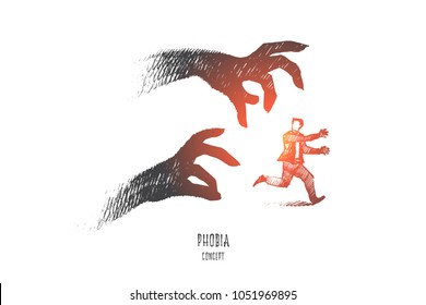 Phobia concept. Hand drawn scared person surrounded by ghost. Man running from his fear isolated vector illustration.