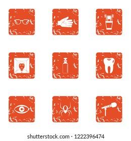 Phobia icons set. Grunge set of 9 phobia vector icons for web isolated on white background