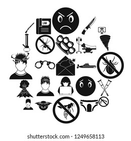 Phobia icons set. Simple set of 25 phobia vector icons for web isolated on white background