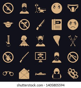 Phobia icons set. Simple set of 25 phobia vector icons for web for any design