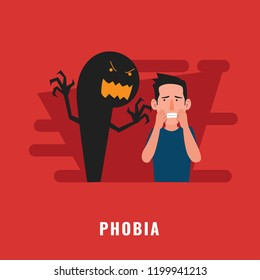 Phobia psychological disorder. Mental health illustration