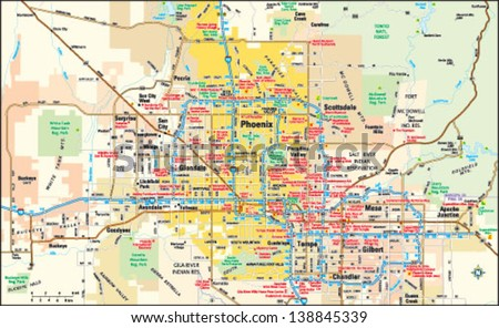 A Map Of Phoenix Arizona.Phoenix Arizona Area Map Stock Vector Royalty Free 138845339
