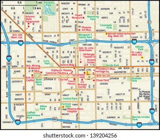 Phoenix, Arizona downtown map