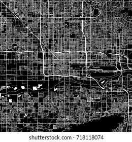 Phoenix, Arizona. Downtown vector map. City name on a separate layer. Art print template. Black and white.