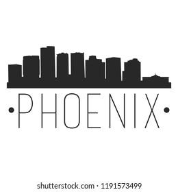 Phoenix Arizona Skyline Silhouette City Design Vector Famous Monuments