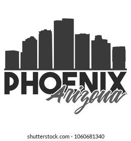 Phoenix Arizona Skyline Souvenir Travel Vector Art Design Tourism