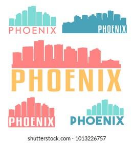 Phoenix Arizona USA Flat Icon Skyline Silhouette Design City Vector Art Famous Buildings Color Set