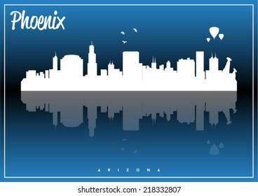 Phoenix, Arizona, USA skyline silhouette vector design on parliament blue background.