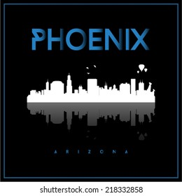 Phoenix, Arizona, USA skyline silhouette vector design on black background.