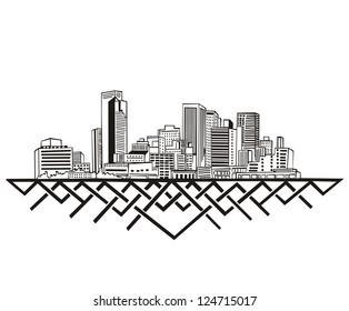Phoenix, AZ Skyline. Black and white vector illustration EPS 8.