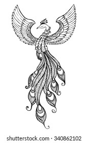 Phoenix Bird emblem drawn in tattoo style.