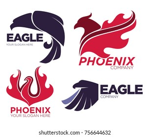 Phoenix bird or fantasy eagle logo templates set for security or innovation company.