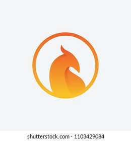 Phoenix bird flame icon logo badge