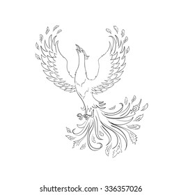 Phoenix bird. Hand drawn sketch in vector. Coloring book page for adults and children. Black outline isolated on white.