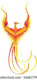 Phoenix bird icon flying isolated on white background
