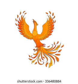 Phoenix bird isolated on white. A symbol of immortality and renewal.
