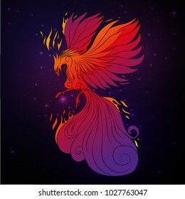 Phoenix bird, legendary bird that is cyclically reborn, vector illustration
