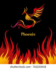 Phoenix bird poster on black background with exclusively drawn lettering.  Bird flying in flames of fire. Vector illustration with typographic title for prints, banners, t-shirts and bags.