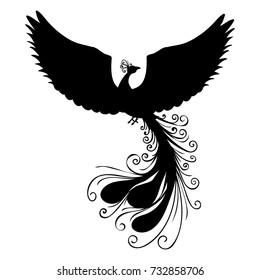 Phoenix bird silhouette ancient mythology fantasy. Vector illustration.