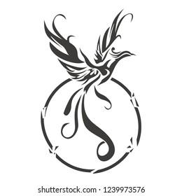 Phoenix bird tattoo vector illustration, signature logo templates
