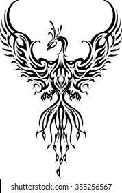 Phoenix Bird Tattoo-Fictional fiery bird phoenix in abstract flame