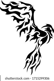 Phoenix black tattoo silhouette, vector bird symbol