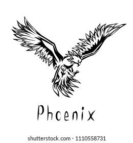 Phoenix black vector illustration isolated on a transparent background