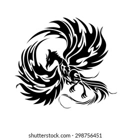 Phoenix black and white graphic/Tattoo drawing/Tribal pattern vector art/Engraving wings illustration