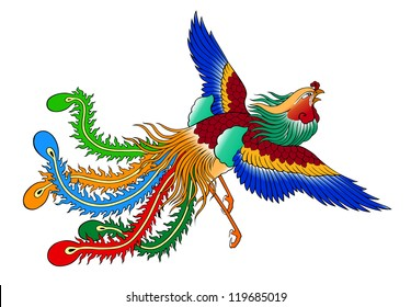 phoenix chinese style on white background