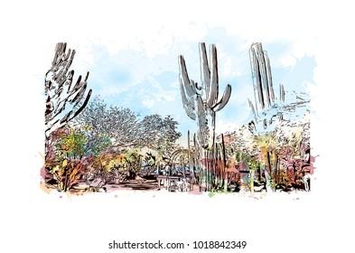 Phoenix City in Arizona, USA. Watercolor splash with Hand drawn sketch illustration in vector.