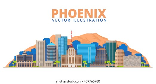 Phoenix City Skyline. Arizona USA. Vector illustration.Business and tourism image.