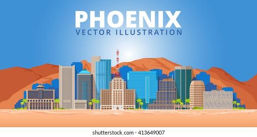 Phoenix city skyline on blue background. Arizona.