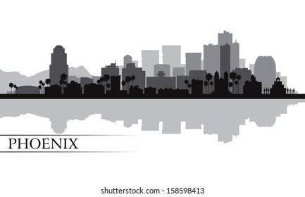 Phoenix city skyline silhouette background. Vector illustration