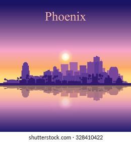 Phoenix city skyline silhouette background, vector illustration