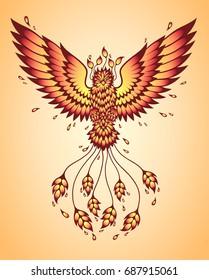 Phoenix color. Bird in flight. Tattoo, t-shirt graphics.