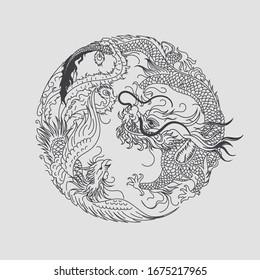 Phoenix and dragon vector tattoo illustration.Hand drawn high detail dragon