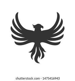 Phoenix or eagle or hawk bird logo icon vector template