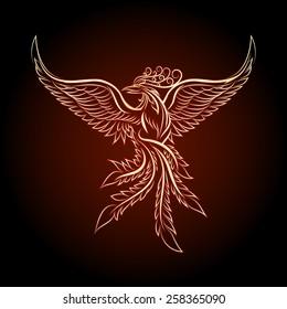 Phoenix emblem drawn in tattoo style.