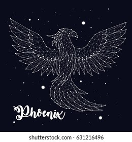 Phoenix, fire and ashes, mystic bird, constellation, space, stars, vector