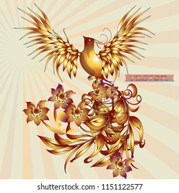Phoenix Fire bird illustration and character design. Legend of the Firebird is Russian fairy tales and it is creature from Slavic folklore.