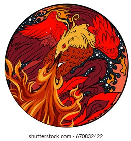 Phoenix Fire bird illustration and character design in circle.Hand drawn Phoenix tattoo Japanese and Chinese style,Legend of the Firebird is Russian fairy tale and it's creature from Slavic folklore.
