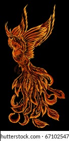 Phoenix Fire bird illustration and character design.background fire shape ,Legend of the Firebird is Russian fairy tales and it is creature from Slavic folklore.