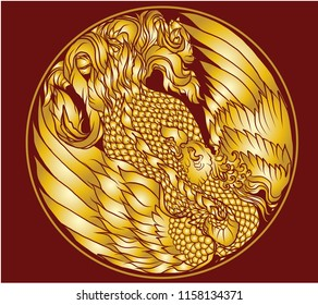 Phoenix Fire bird illustration and Gold color design in circle.Hand drawn Phoenix tattoo Japanese and Chinese style,Legend of the Firebird is Russian fairy tales, it is creature from Slavic folklore.