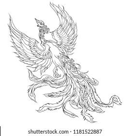 phoenix fire bird outline and isolate on white background.Fenix bird japanese animal tattoo design.