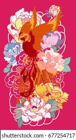 Phoenix fire bird with Peony flower and rose on cloud and wave background.Hand drawn Japanese style.Beautiful  phoenix and flower tattoo on pink background.peacock tattoo Chinese style.
