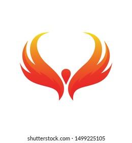 Phoenix Fire Logo Design Vector