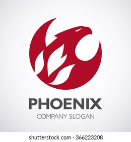 Phoenix and fire logo, eagle logo,vector logo template. Mascot.