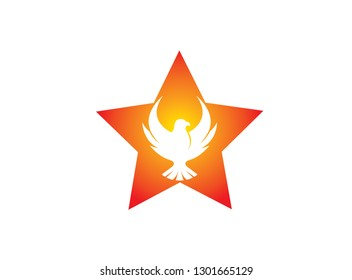 Phoenix flying bird inside the star and eagle open wings Logo